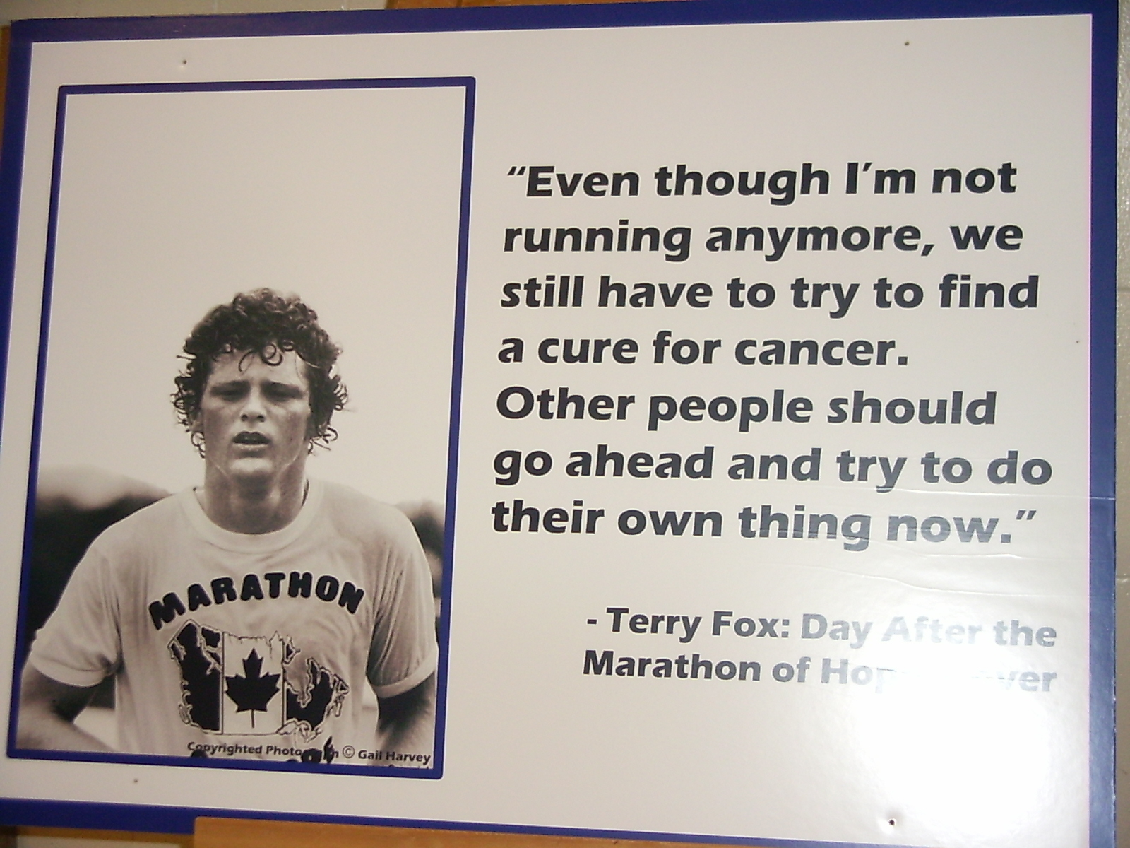 Terry Fox display poster for SFU s Terry Fox Run     photo Todd WongTerry Fox Poster